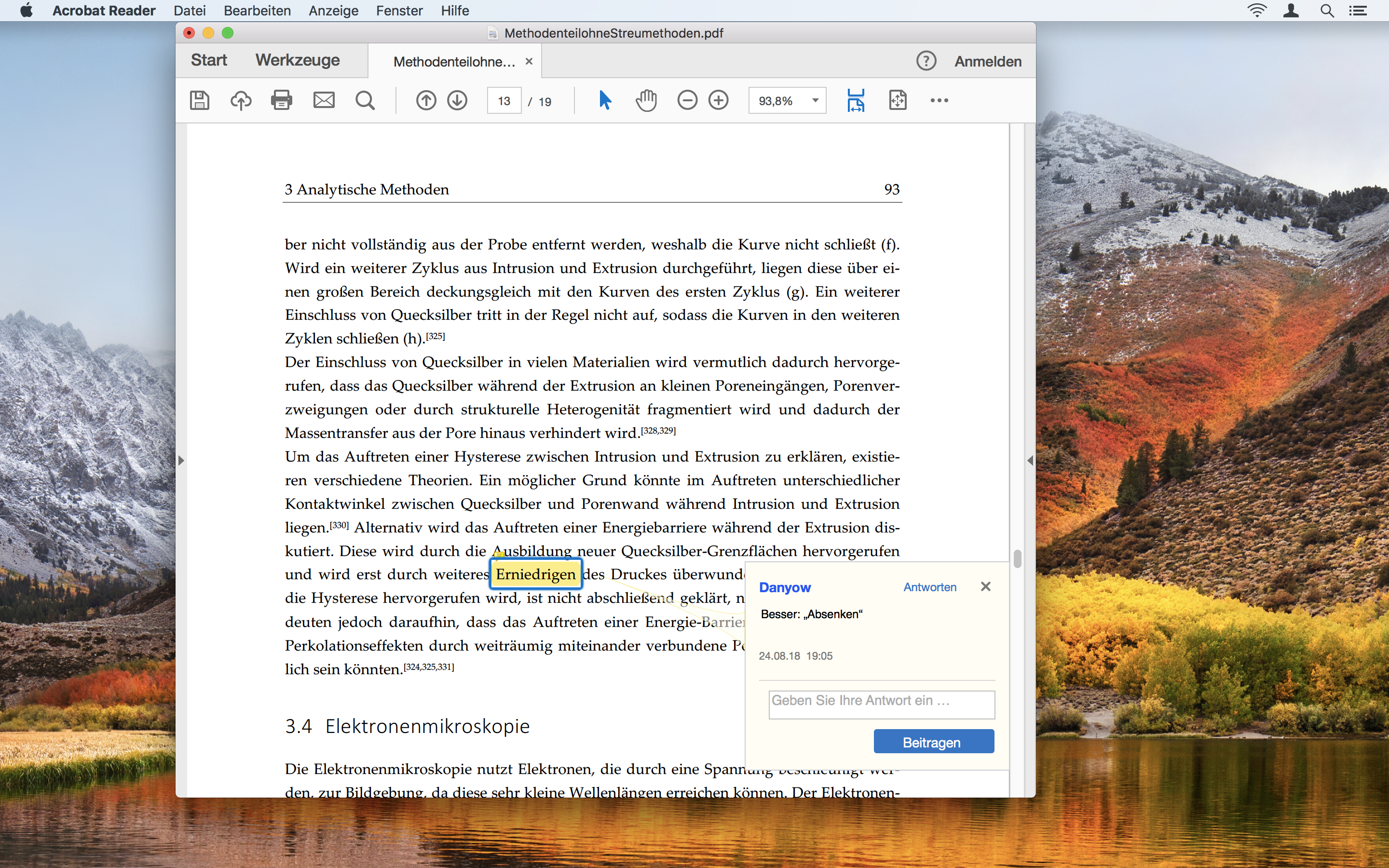Screen Grab: Commented highlight in Adobe Acrobat Reader