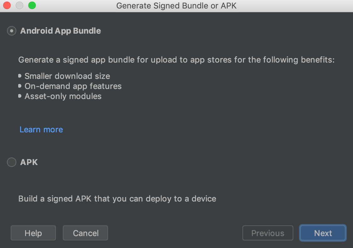 Generate App Bundle in Android Studio