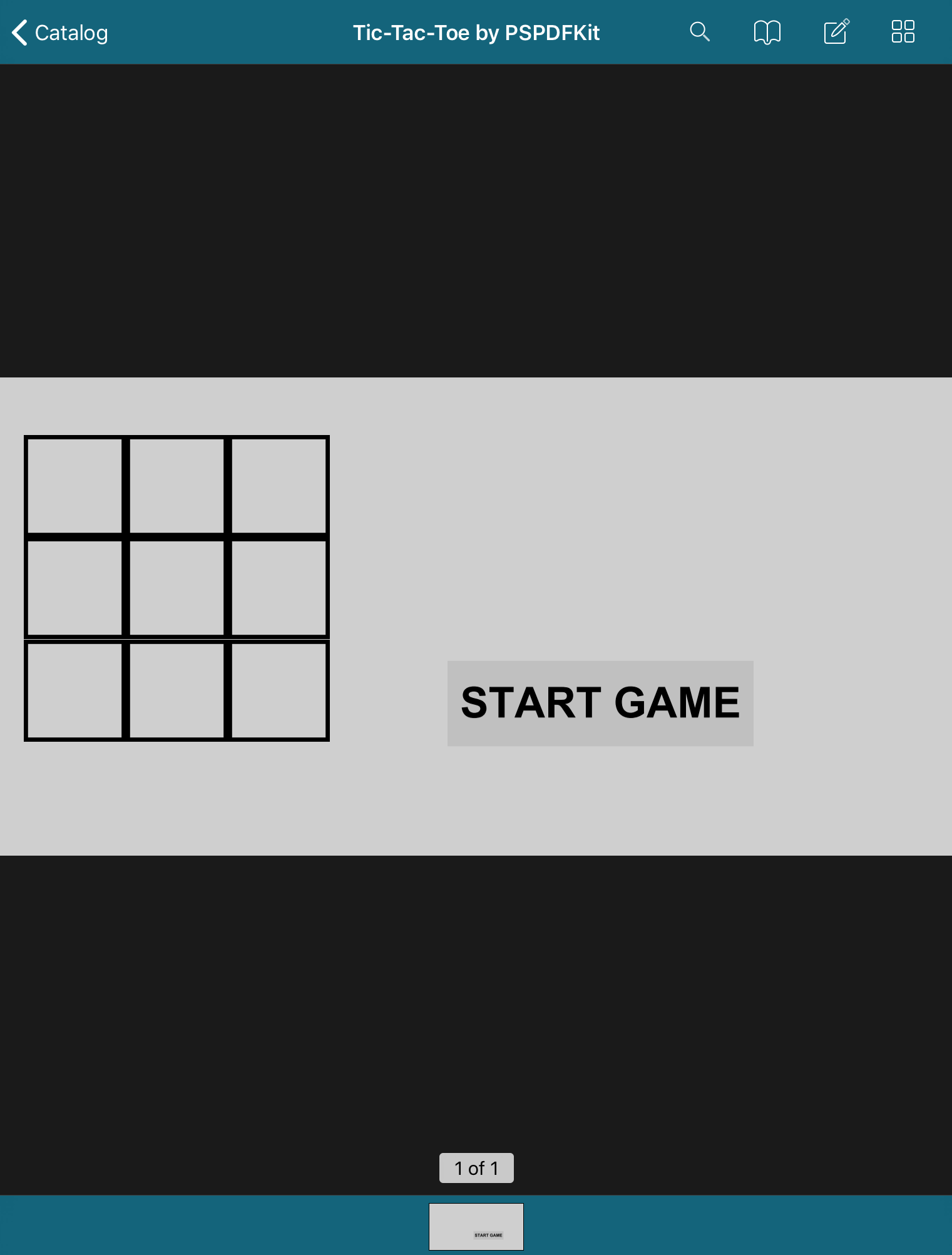Screenshot showing the initial state of the tic-tac-toe game in a PDF