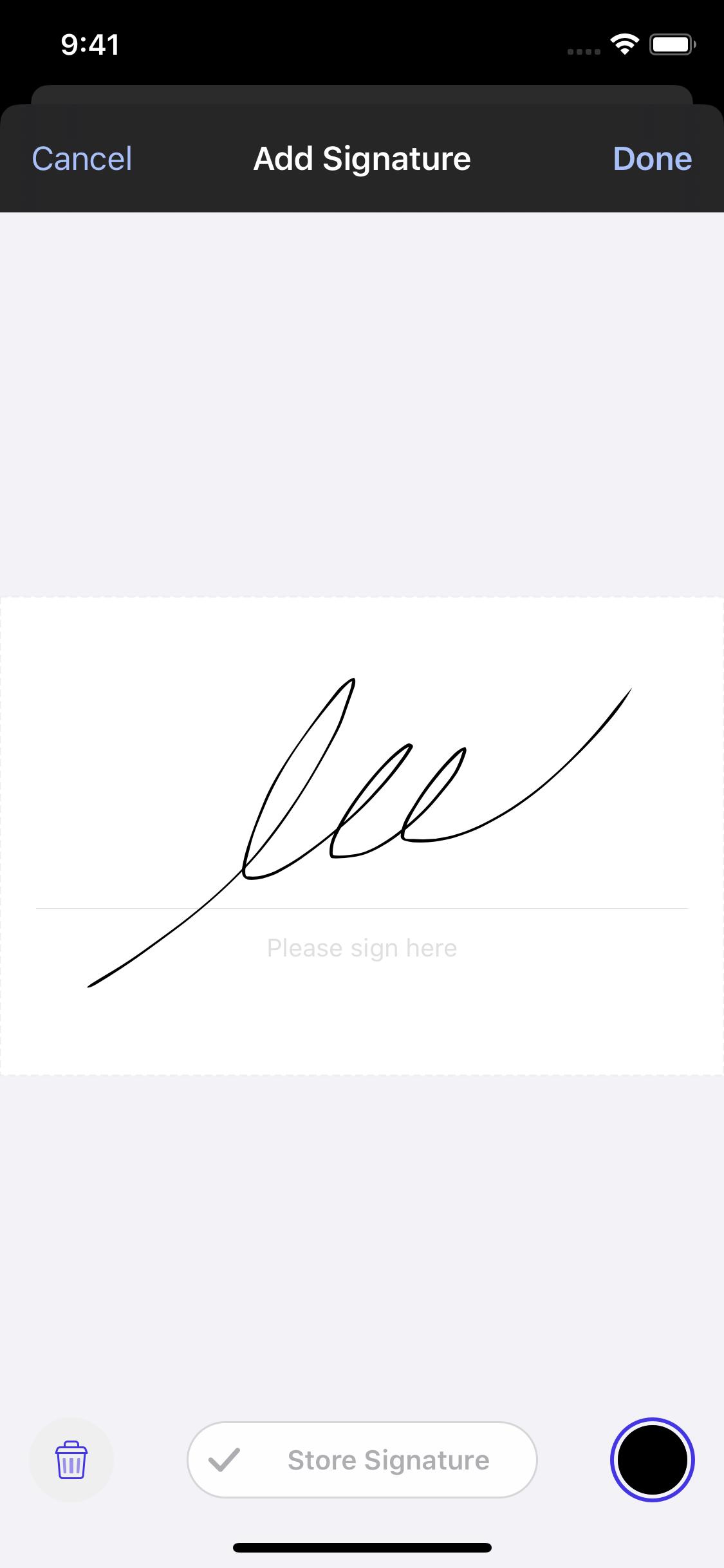Previous Signature UI in Dark Mode - Yellow