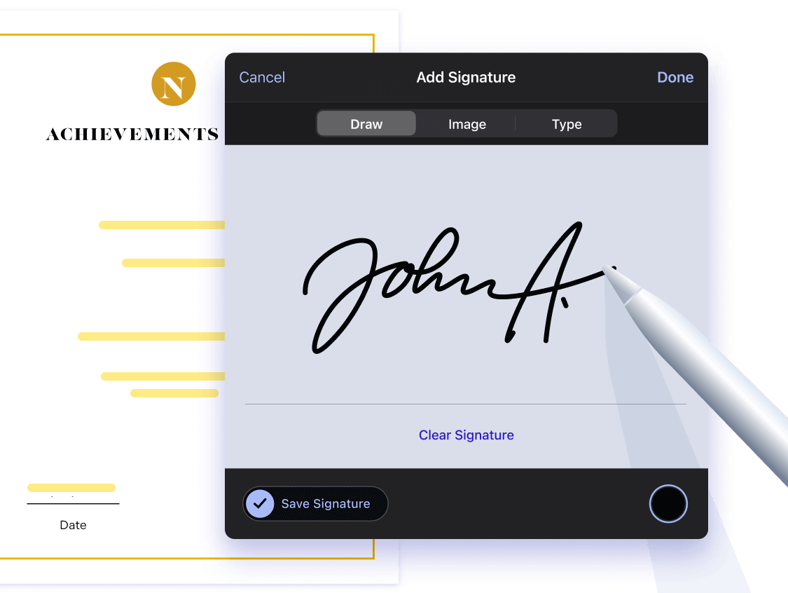 iOS Electronic Signature dialog