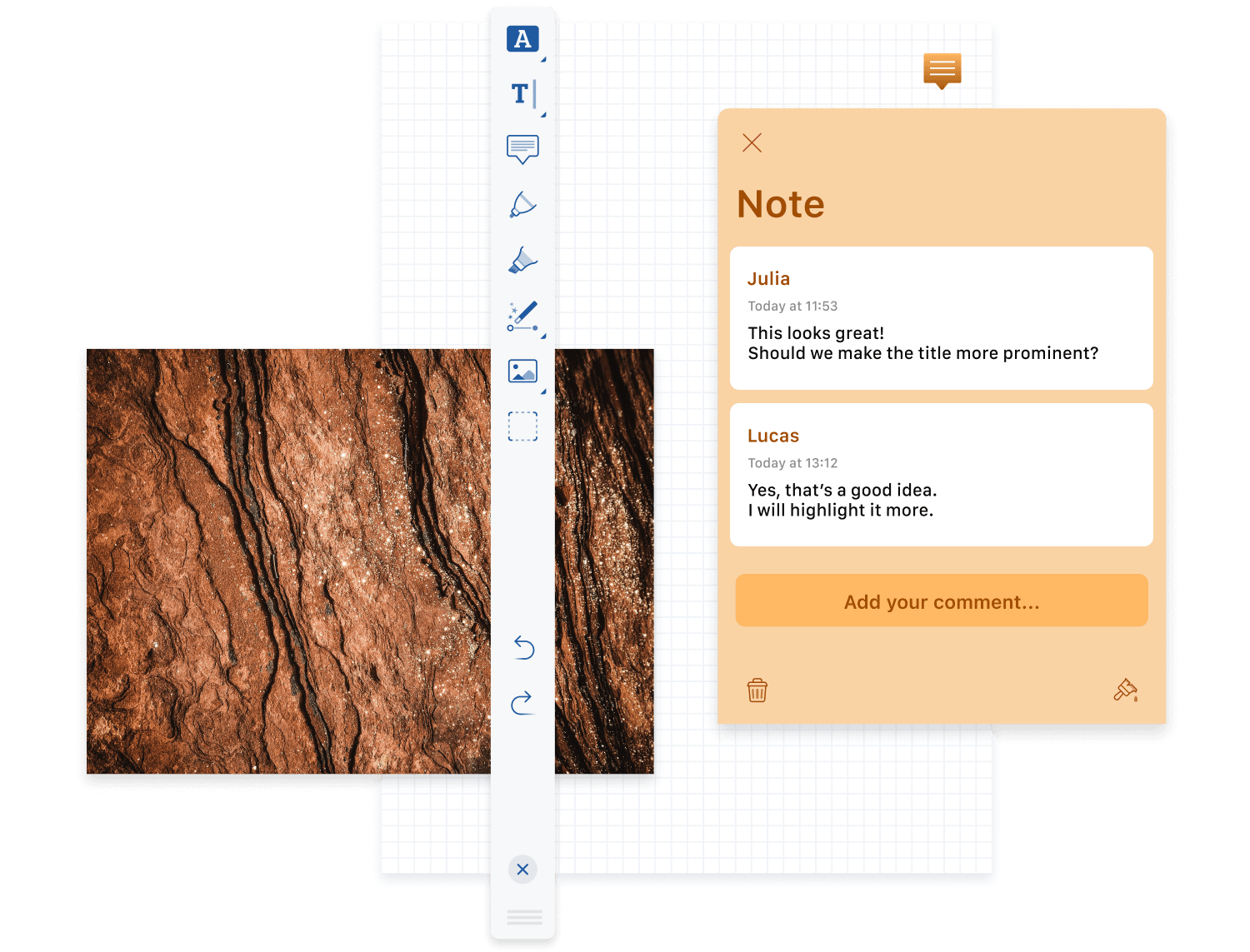 Picture of document with grid background overlaid by note UI, vertical annotation toolbar, and image