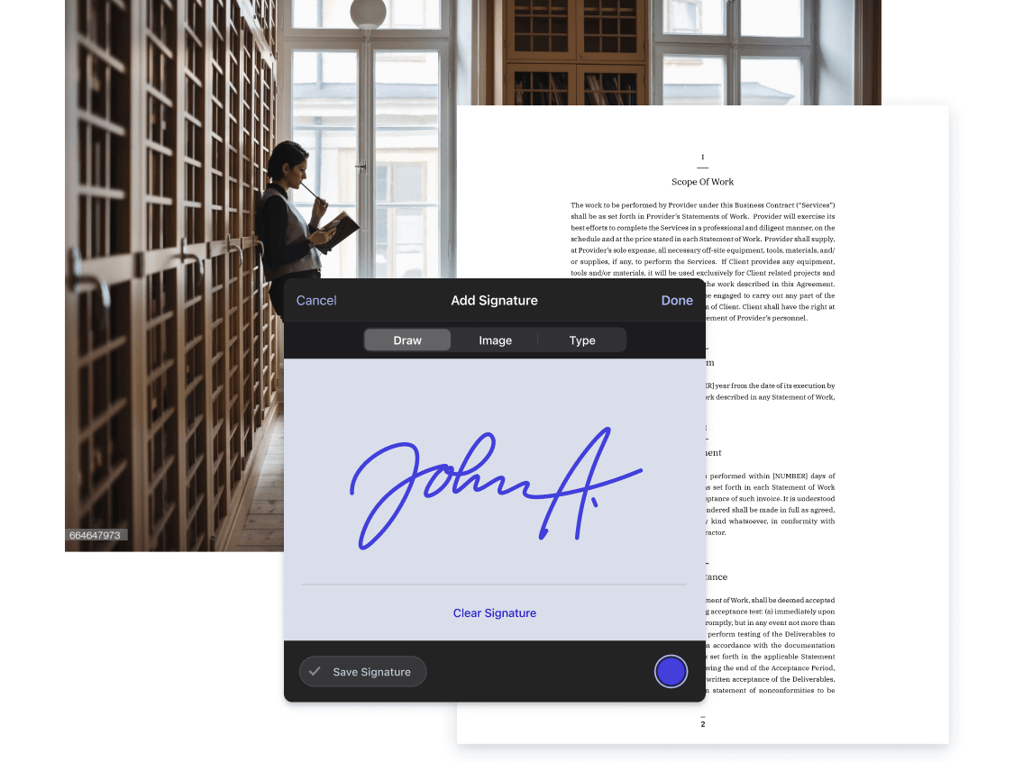 Picture of lawyer in the office and a contract with electronic signatures UI