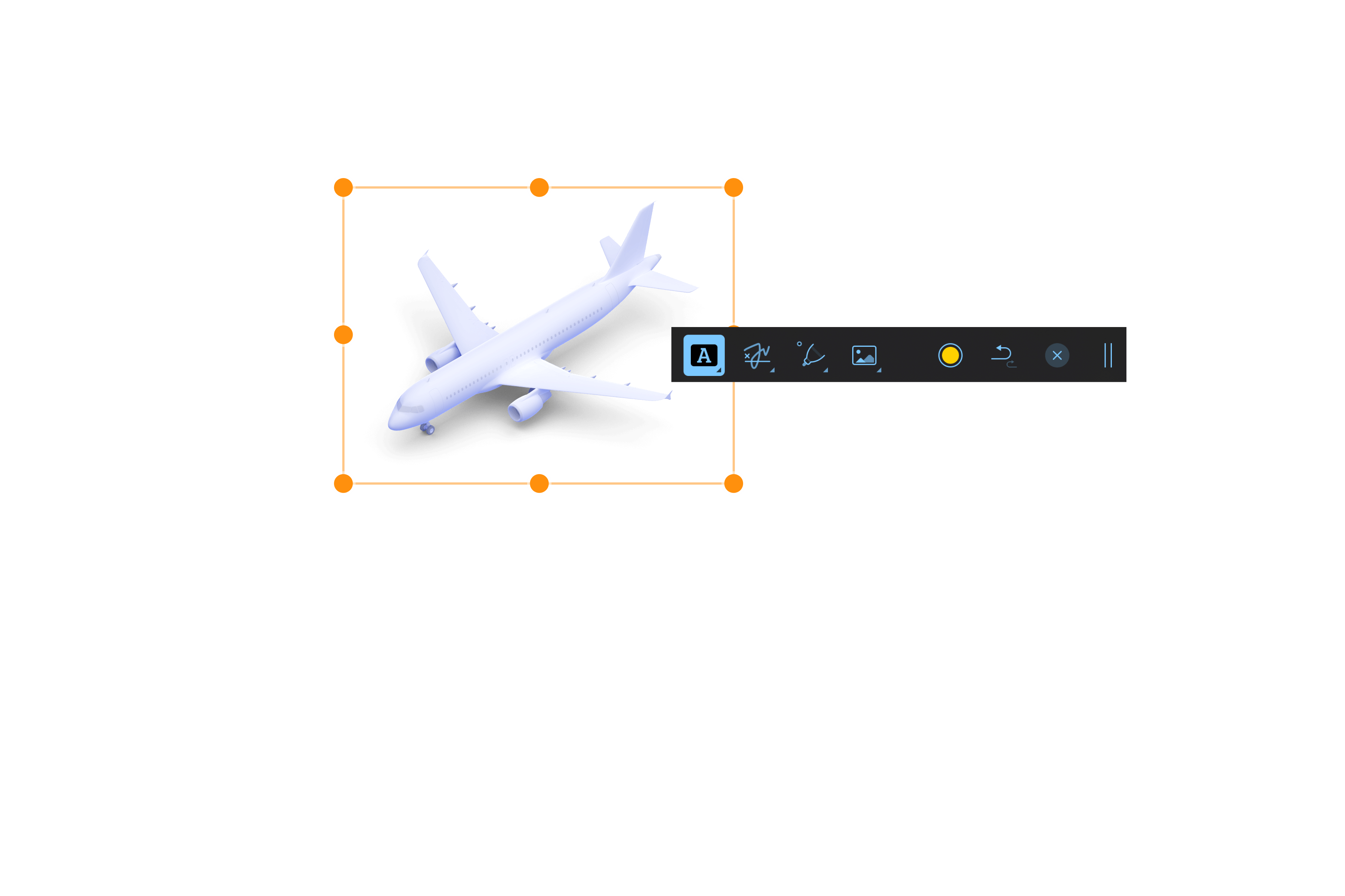 Selected image of airplane with annotation toolbar