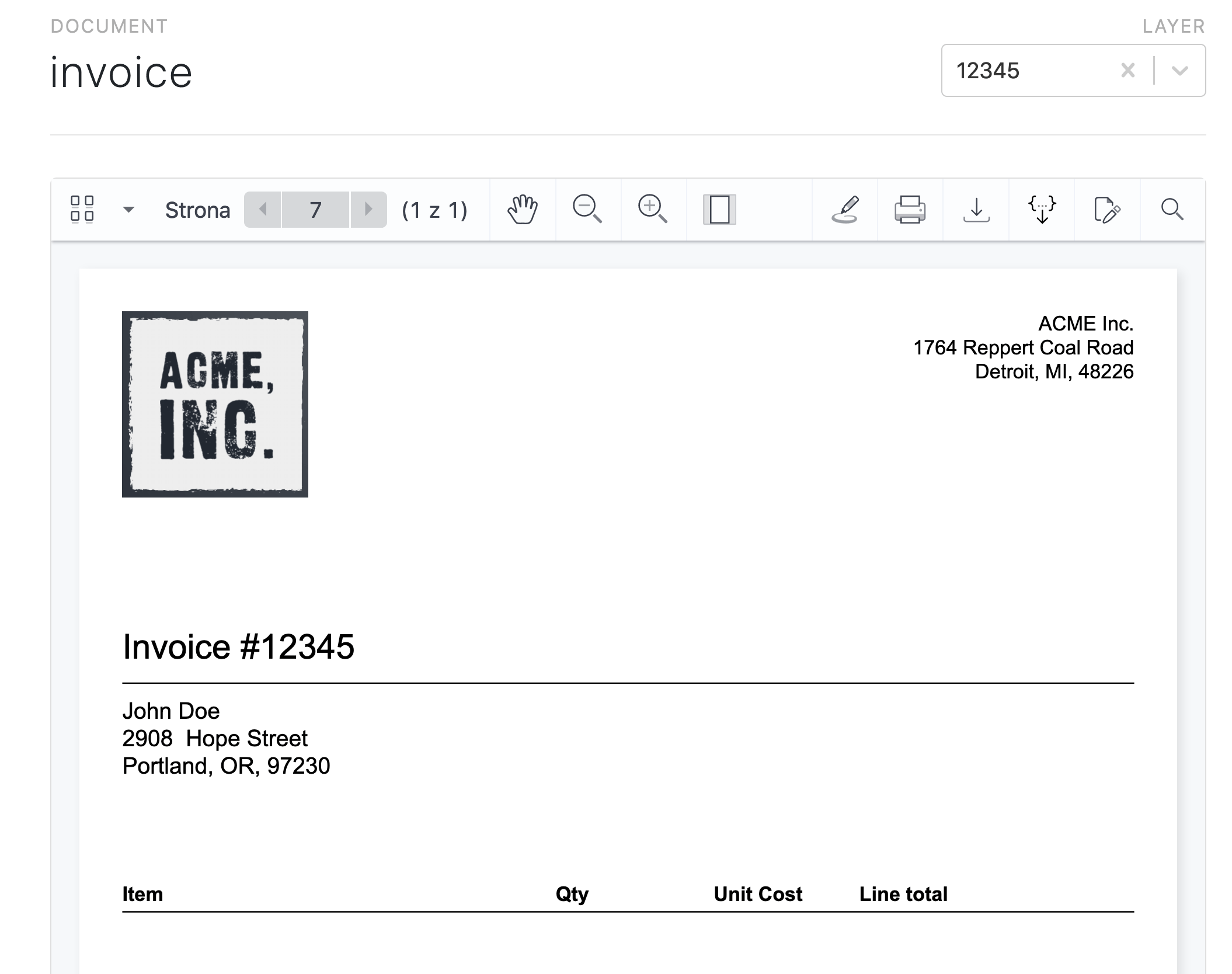 Invoice number and customer details filled-in