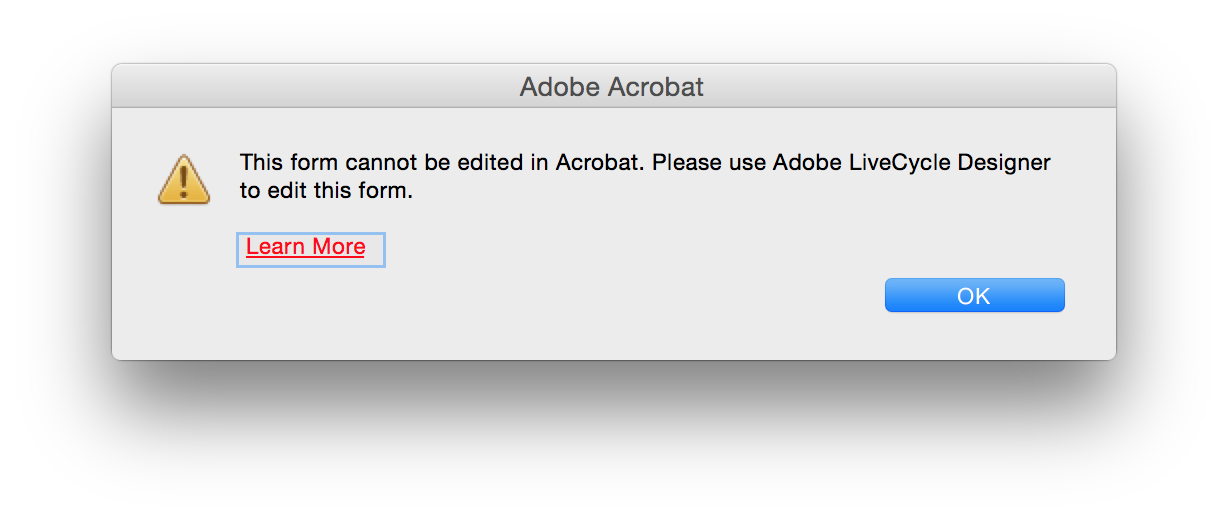 Screenshot of Adobe Acrobat alert window