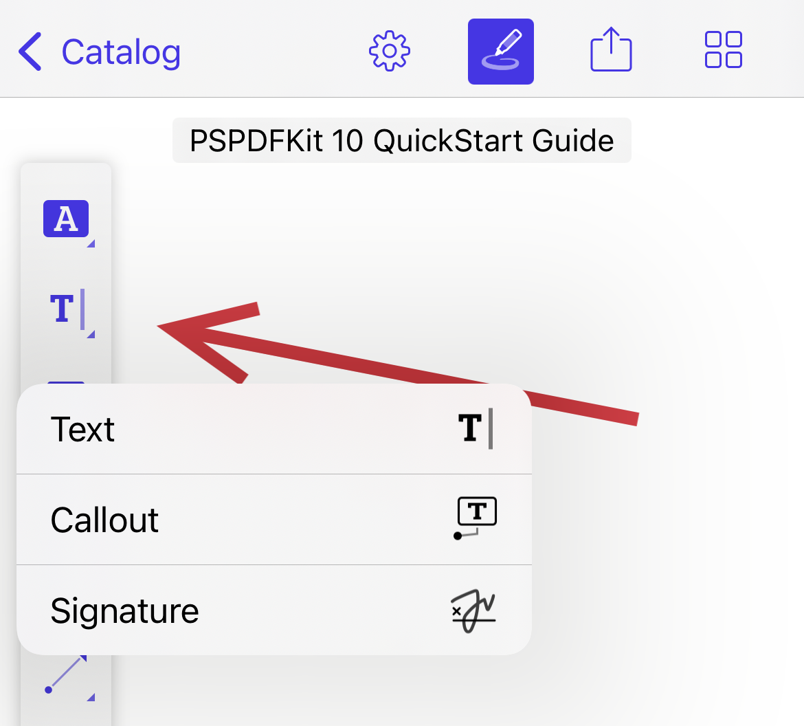 iPhone screenshot showing annotation toolbar with the second group expanded to show Text, Callout, and Signature.