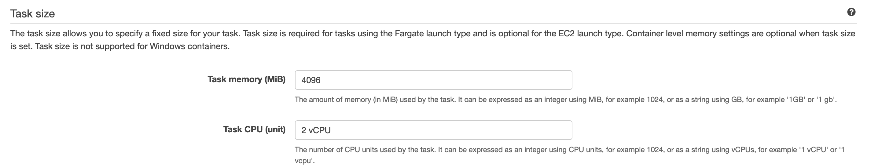 AWS Task Size Settings