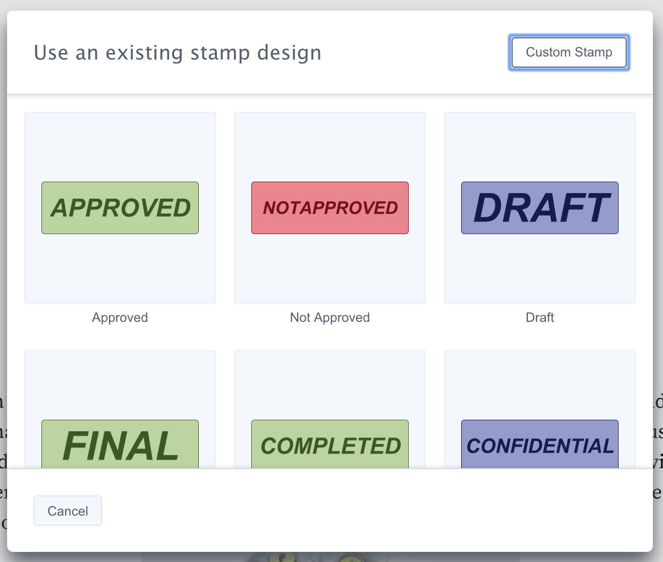 Stamp Annotation Templates Picker UI