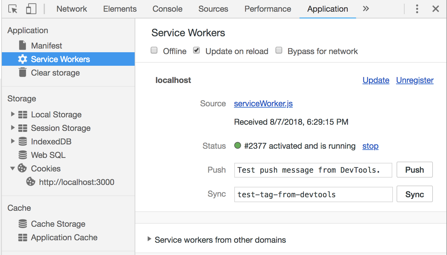Chrome Developers Tools: Application Tab. Shows the registered Service Worker.