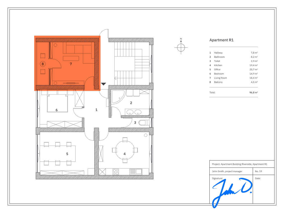 Apartment blueprint with highlighted section and digital signature