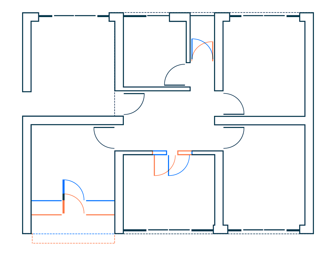 Blueprint comparison showing changes